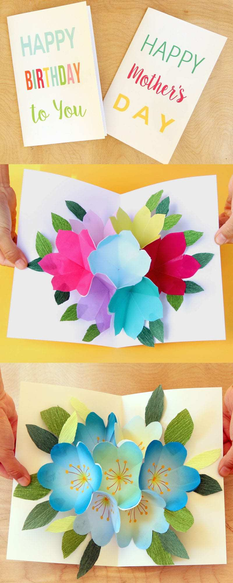3D Pop Up Origami Birthday Cake Design Greeting Cards Invitation ... | 2000x800