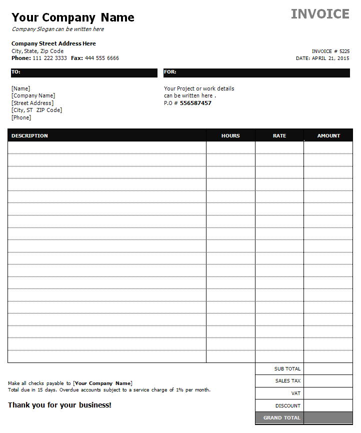 13 Blank Construction Service Invoice Template Templates for Construction Service Invoice Template