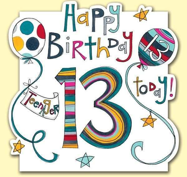 13 Online 13Th Birthday Card Template Layouts for 13Th Birthday Card Template