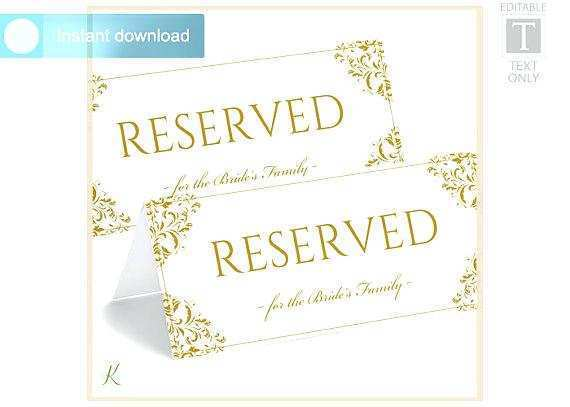 14 Blank Reserved Tent Card Template Download With Reserved Tent Card Template Cards Design Templates