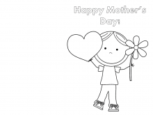Mother'S Day Card To Print And Colour