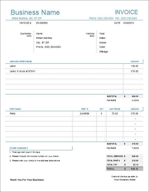 14 Creative Collision Repair Invoice Template for Ms Word by Collision Repair Invoice Template