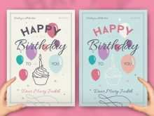 Happy Birthday Card Template A4