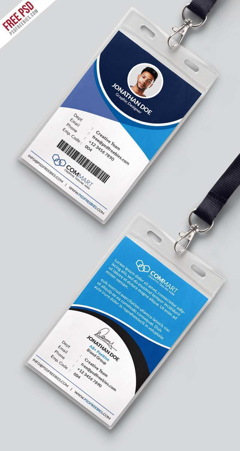 employee id card template psd free download  cards design