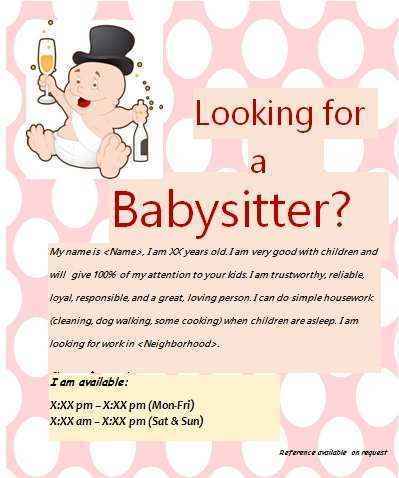 15 Babysitting Flyer Free Template Photo by Babysitting Flyer Free Template