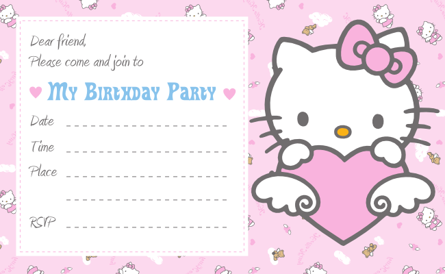 15 Free Printable Birthday Invitation Card Template Hello Kitty in Photoshop for Birthday Invitation Card Template Hello Kitty