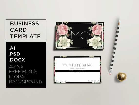 15 Online Floral Business Card Template Word Download with Floral Business Card Template Word