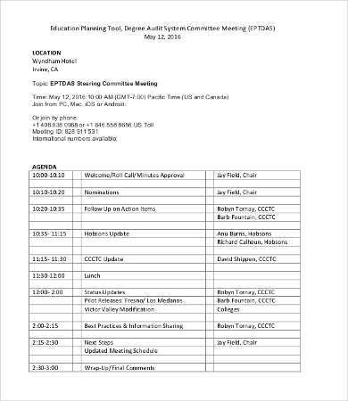 15 Standard Audit Planning Meeting Agenda Template for Ms Word for Audit Planning Meeting Agenda Template