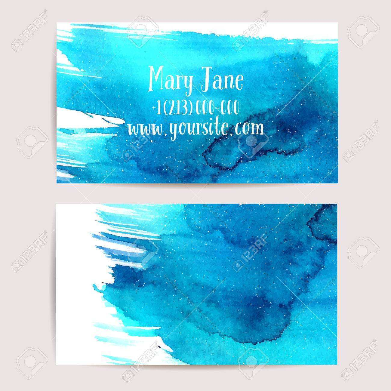 16 Adding Business Card Templates Watercolor in Photoshop with Business Card Templates Watercolor