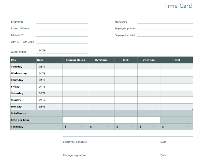 16 Customize Our Free Excel 2010 Time Card Template Photo for Excel 2010 Time Card Template