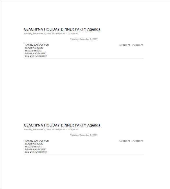 16 Free Printable Holiday Party Agenda Template Maker for Holiday Party Agenda Template