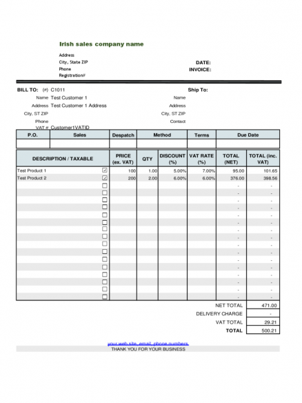 Sales Tax Invoice Format In Excel from legaldbol.com
