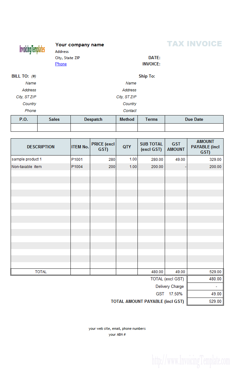 18 Blank Tax Invoice Template With Gst With Stunning Design By Tax Invoice Template With Gst Cards Design Templates