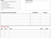 Construction Company Invoice Template Excel