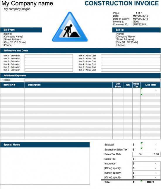 18 Printable Construction Invoice Template Excel Formating by Construction Invoice Template Excel