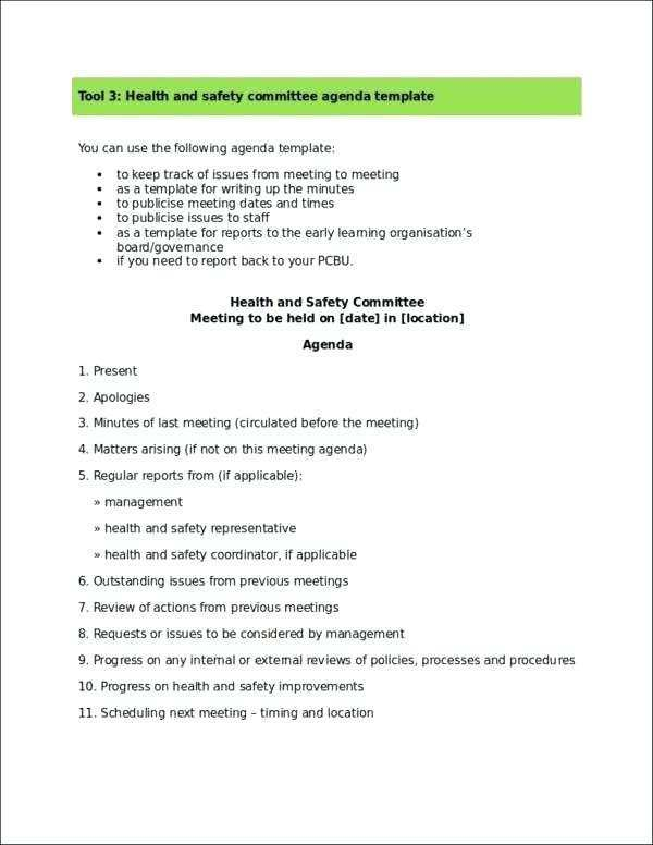 18 The Best Health And Safety Meeting Agenda Template Uk In Word For Health And Safety Meeting Agenda Template Uk Cards Design Templates
