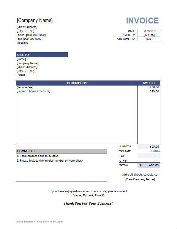 19 Free Blank Invoice Template For Hours Worked Maker for Blank Invoice Template For Hours Worked