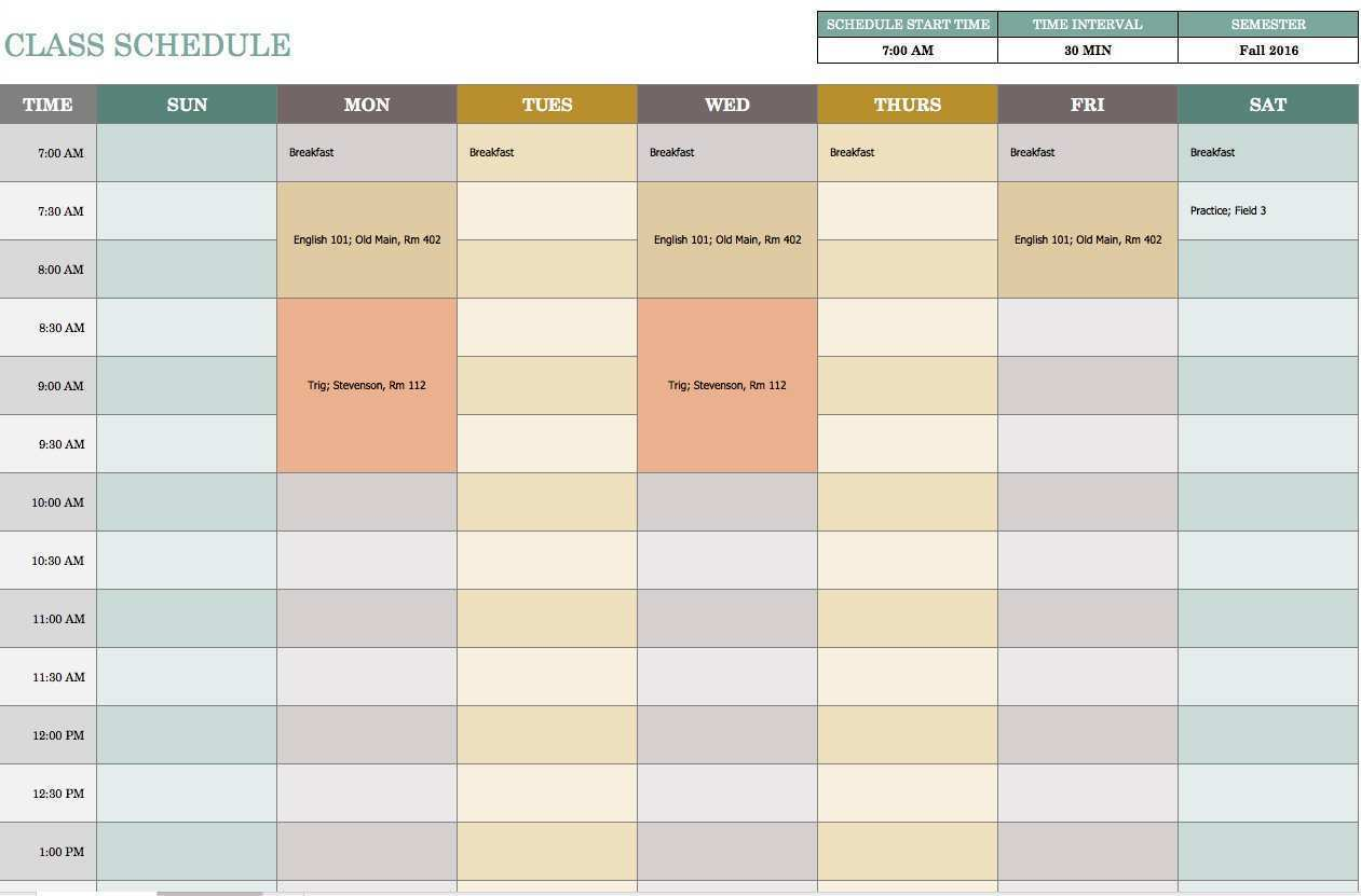 19 Printable Class Schedule Template For Excel Templates by Class Schedule Template For Excel