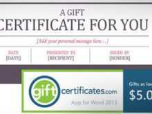 Gift Card Template In Word