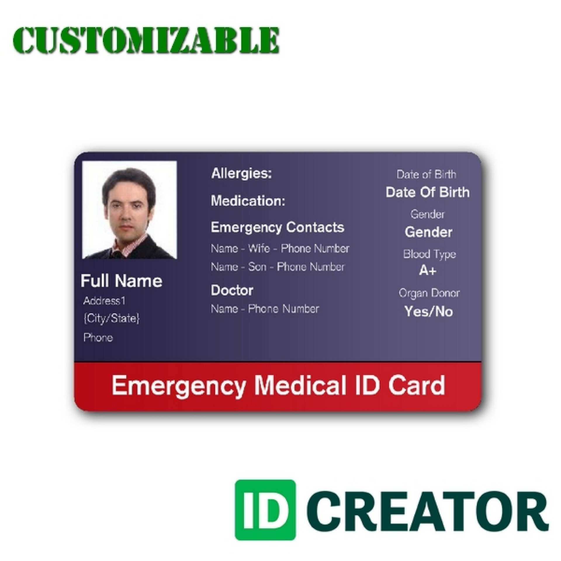 20 Visiting Emergency Id Card Template Templates with Emergency Id Card Template
