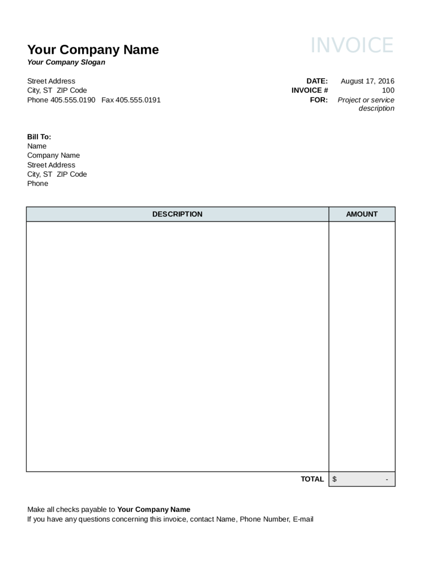 Blank Consulting Invoice Template - Cards Design Templates