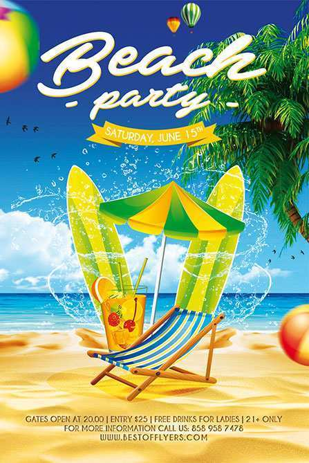 21 Online Beach Party Flyer Template in Photoshop with Beach Party Flyer Template