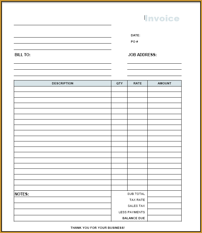 21 Visiting Blank Invoice Format Pdf in Photoshop for Blank Invoice Format Pdf