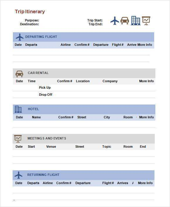 23 The Best Business Travel Itinerary Template Word in Word with Business Travel Itinerary Template Word
