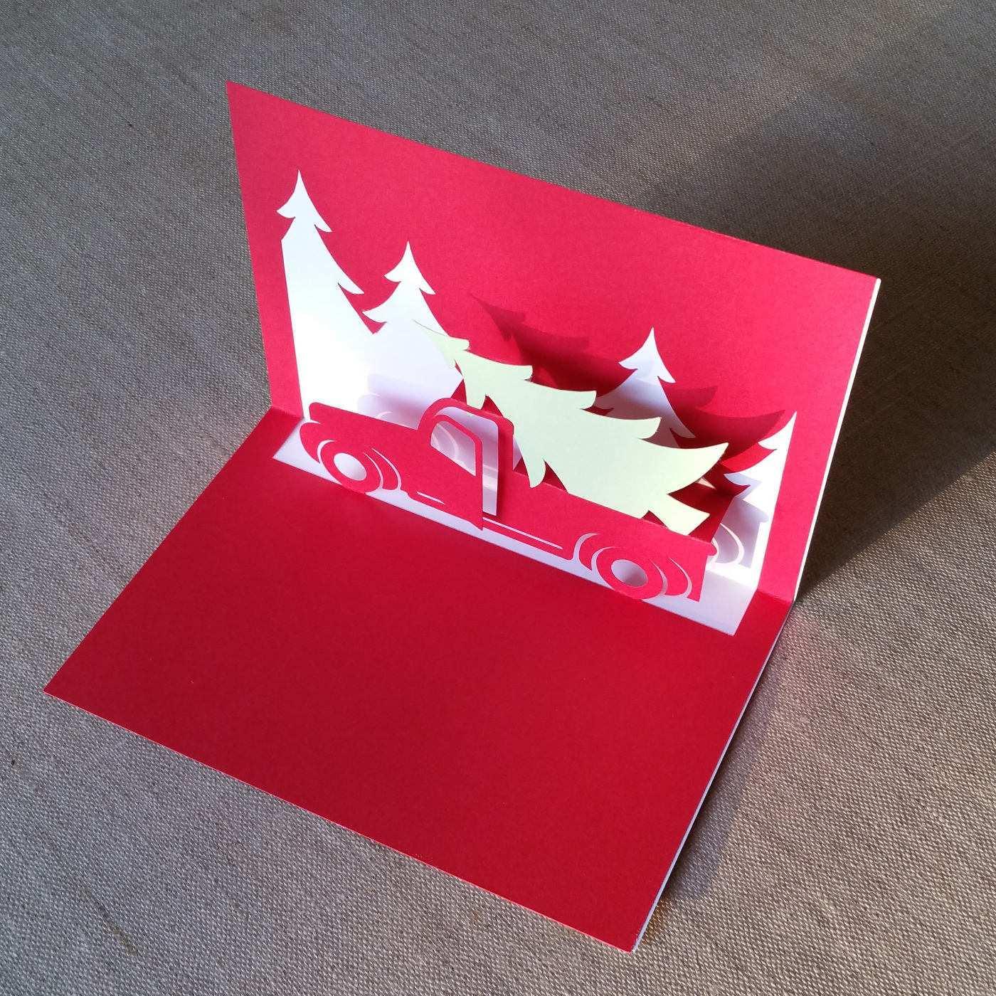 kirigami christmas card template  cards design templates
