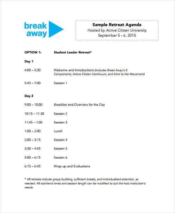 24 Free Printable Business Retreat Agenda Template Templates for Business Retreat Agenda Template