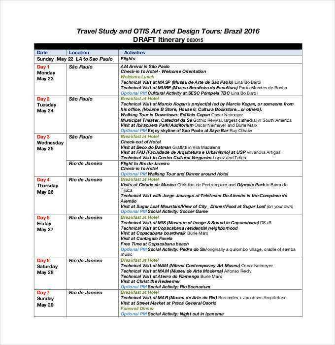 24 Report 4 Day Travel Itinerary Template for 4 Day Travel Itinerary Template