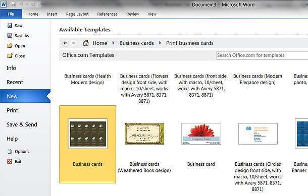 25 Business Card Templates In Word 2007 for Ms Word by Business Card Templates In Word 2007
