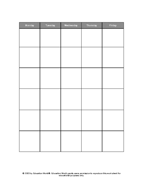 25 Standard 5 Day Class Schedule Template Layouts with 5 Day Class Schedule Template