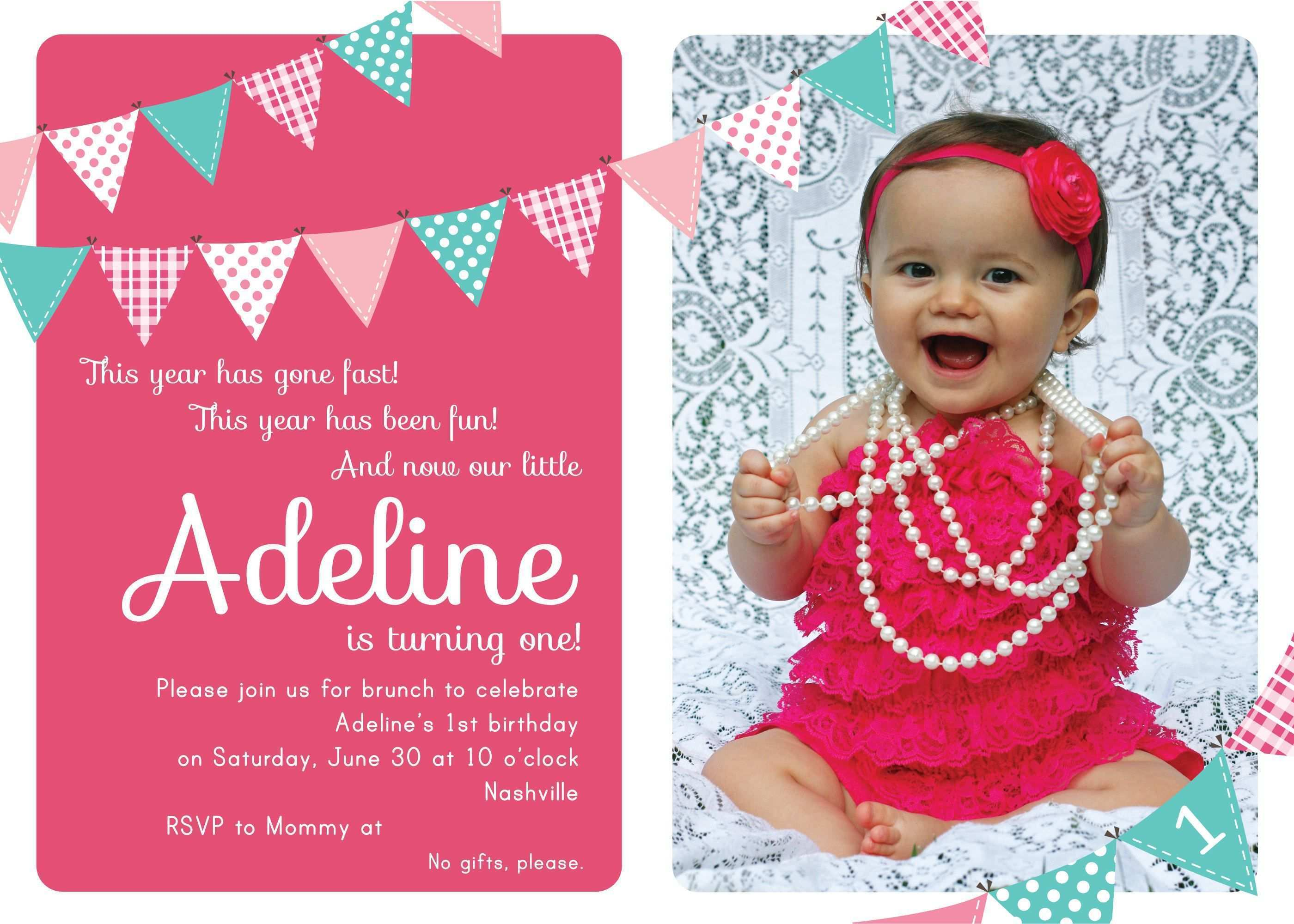 25 The Best 1 Year Old Birthday Card Templates With Stunning Design by 1 Year Old Birthday Card Templates