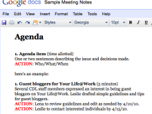 Meeting Agenda Items Example