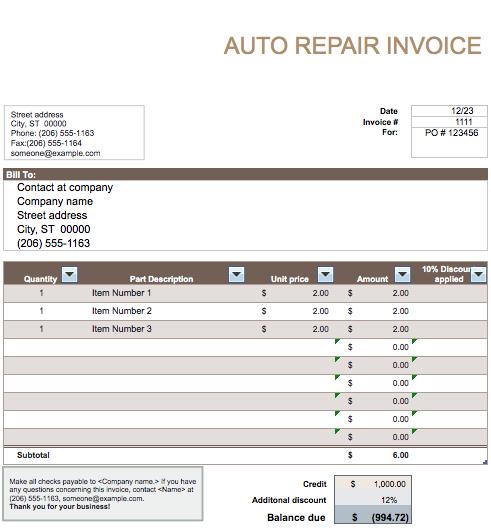 26 Create Body Repair Invoice Template For Free for Body Repair Invoice Template