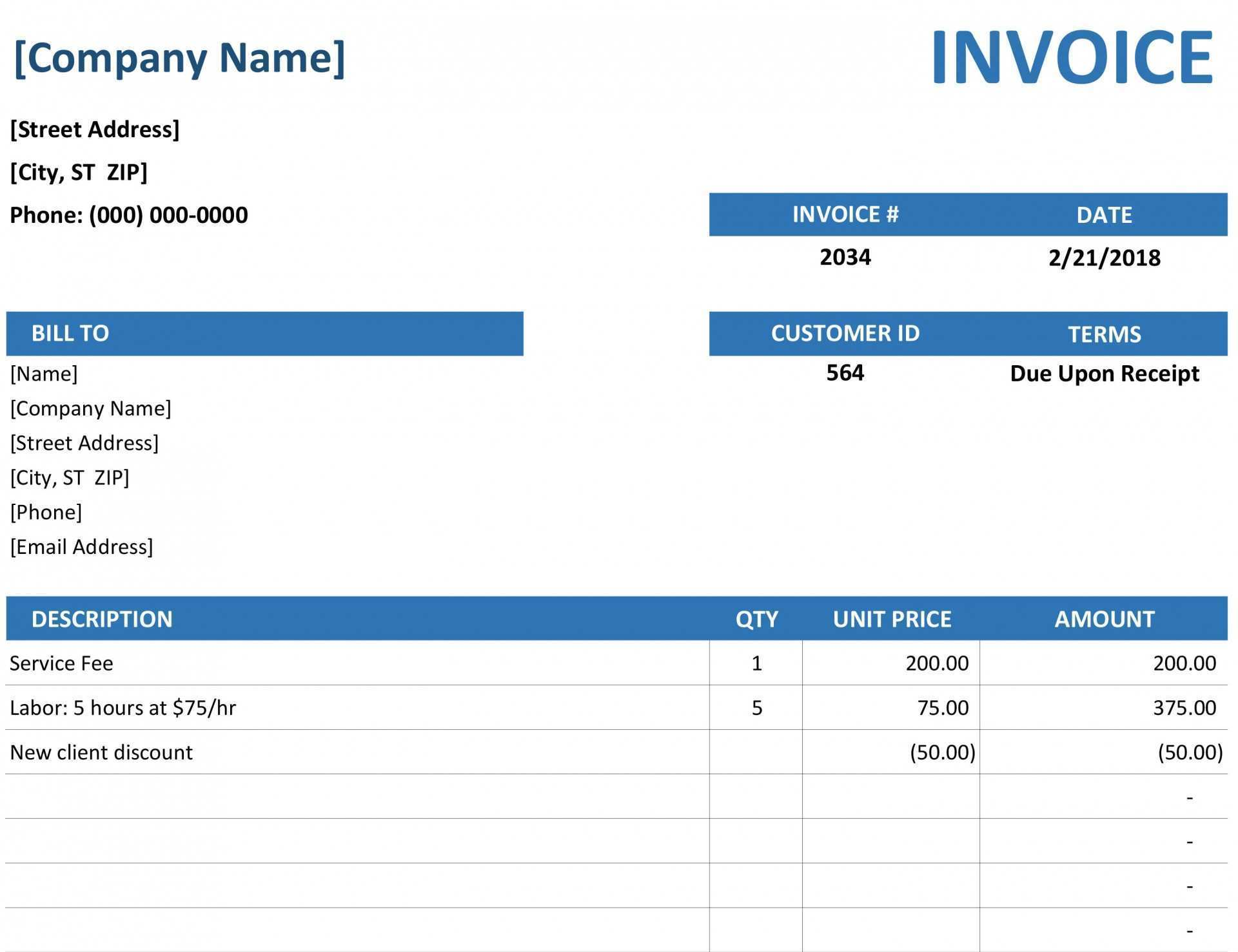 26 Customize Blank Invoice Format Excel For Free for Blank Invoice Format Excel