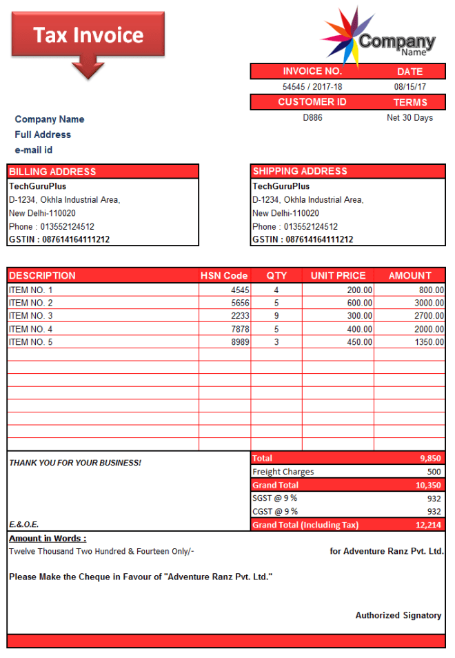 26 Printable Invoice Format Excel Gst for Ms Word for Invoice Format Excel Gst