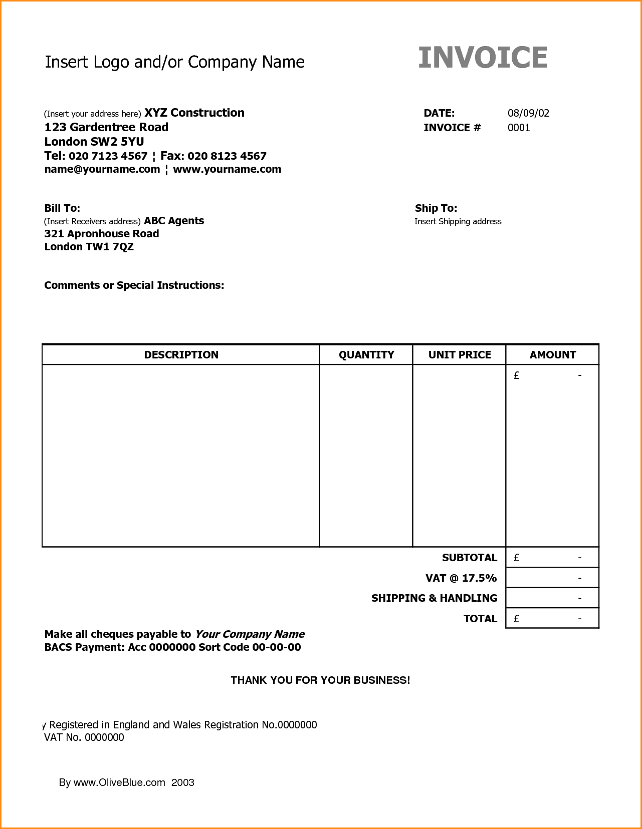 27 Free Construction Invoice Template Xls In Word By Construction Invoice Template Xls Cards Design Templates