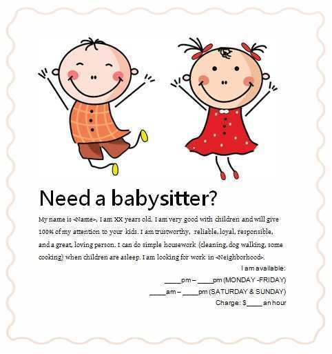 27 Visiting Babysitting Flyer Free Template PSD File for Babysitting Flyer Free Template