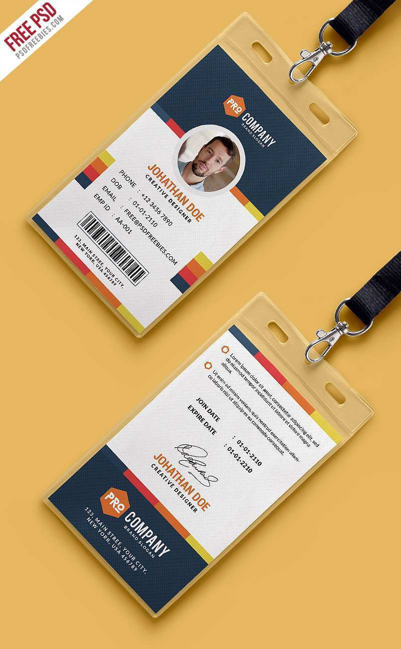21 Adding Office Id Card Template Free Download PSD File with Inside Template For Id Card Free Download