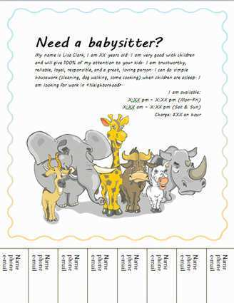 28 Report Babysitting Flyer Free Template Photo with Babysitting Flyer Free Template
