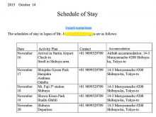 Travel Itinerary Template For Visa Application
