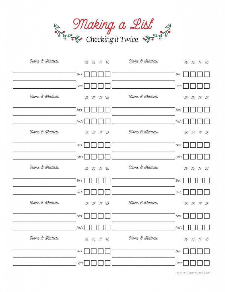 29 Blank Christmas Card List Template Microsoft Word Now for Christmas Card List Template Microsoft Word