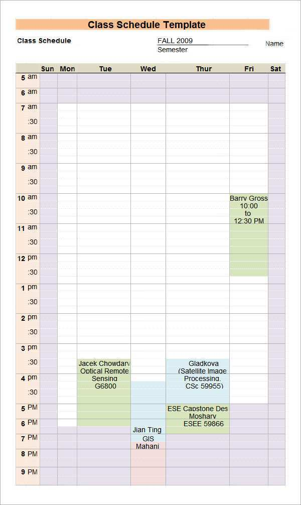 29 How To Create Class Schedule Template For Excel PSD File by Class Schedule Template For Excel