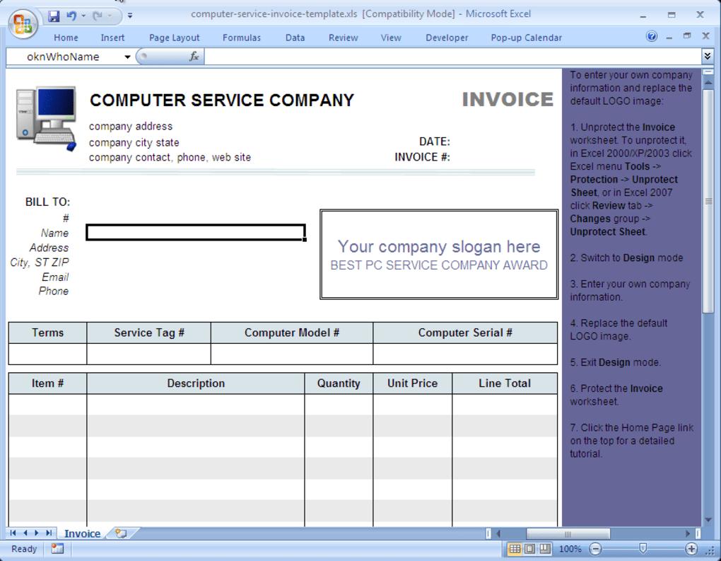 29 Standard Computer Repair Service Invoice Template For Ms Word With Computer Repair Service Invoice Template Cards Design Templates