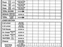 31 Free Yahtzee Card Template for Ms Word with Yahtzee Card Template