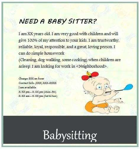 31 Printable Babysitting Flyer Free Template With Stunning Design with Babysitting Flyer Free Template