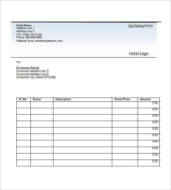 31 Printable Sample Hotel Invoice Template Now For Sample Hotel Invoice Template Cards Design Templates