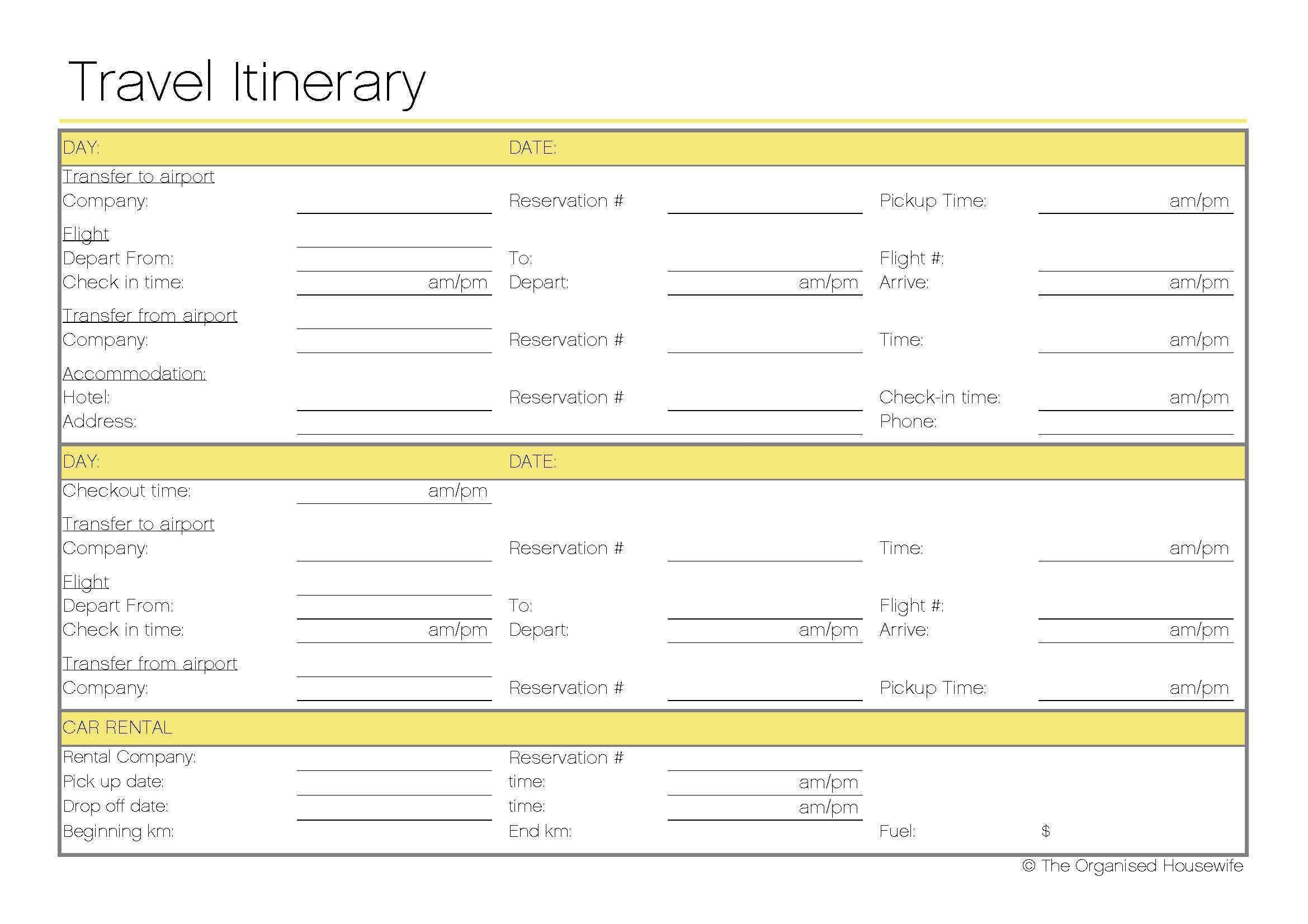 32 Create 7 Day Travel Itinerary Template Templates for 7 Day Travel Itinerary Template